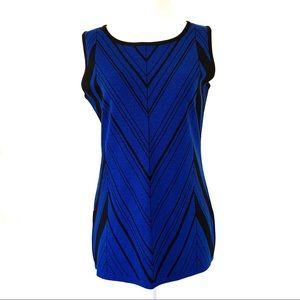 Misook Chevron Knit Tank Blue Black Size XSP